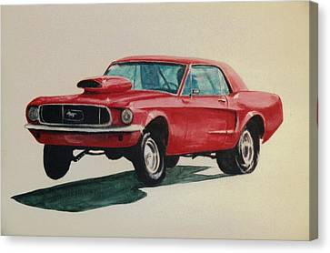 Canvas Print featuring the painting Mustang Launch by Stacy C Bottoms
