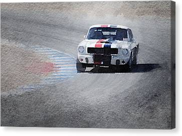 Mustang On Race Track Watercolor Canvas Print by Naxart Studio