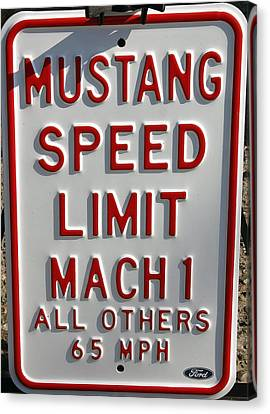 Mustang Speed Limit Canvas Print