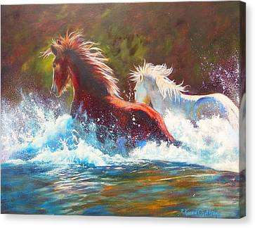 Canvas Print featuring the painting Mustang Splash by Karen Kennedy Chatham