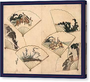 Mutamagawa Senmen Harimaze Canvas Print by Hokusai, Katsushika (1760-1849), Japanese