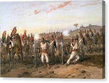 Mutineers About To Be Blown From Guns Canvas Print by Orlando Norie