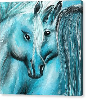 Mutual Companions- Fine Art Horse Artwork Canvas Print by Lourry Legarde