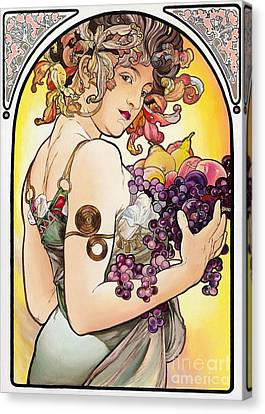 My Acrylic Painting As An Interpretation Of The Famous Artwork By Alphonse Mucha - Fruit Canvas Print