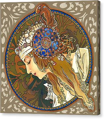 My Acrylic Painting As Interpretation Of Alphonse Mucha- Byzantine Head. The Blonde. Diagonal Frame. Canvas Print by Elena Yakubovich