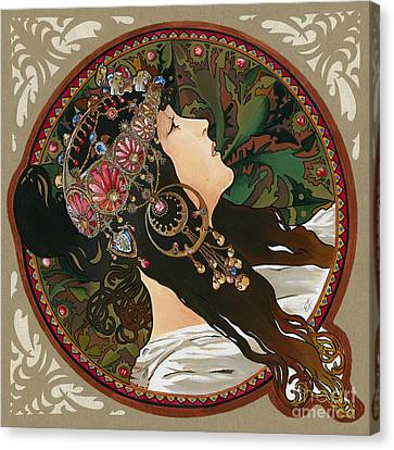 My Acrylic Painting As Interpretation Of Alphonse Mucha - Byzantine Head The Brunette Diagonal Frame Canvas Print by Elena Yakubovich