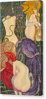 Canvas Print - My Acrylic Painting Inspired By Klimt - Goldfish - Beethoven Frieze - Jurisprudence Final State - by Elena Yakubovich