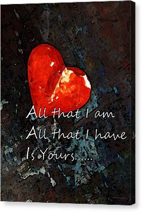My All - Love Romantic Art Valentine's Day Canvas Print by Sharon Cummings