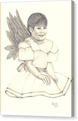 Canvas Print featuring the drawing My Angel by Patricia Hiltz