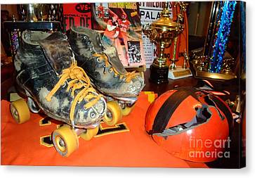 My Battle Scarred Roller Derby Skates And Helmet   Canvas Print by Jim Fitzpatrick
