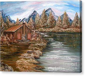 My Cabin By The Lake Canvas Print