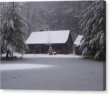 My Cabin In Winter Canvas Print