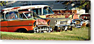 Canvas Print featuring the digital art My Cars by Cathy Anderson