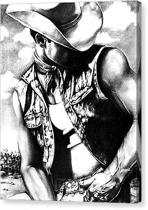 Black And White Human Figure Drawing Canvas Print - My Cowboy Man by RjFxx at beautifullart com