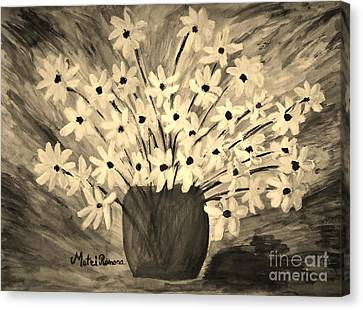 My Daisies Sepia Version Canvas Print by Ramona Matei
