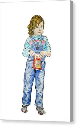 Canvas Print featuring the drawing My Daughter Talli At Age 3 by Sam Shacked