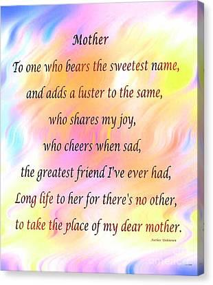 My Dear Mother Canvas Print