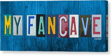 Artwork On Canvas Print - My Fancave License Plate Letter Vintage Phrase Artwork On Blue Wood by Design Turnpike