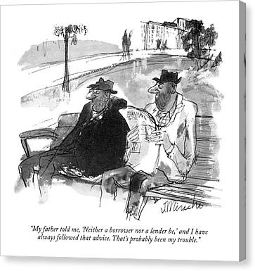 Park Benches Canvas Print - My Father Told by Joseph Mirachi