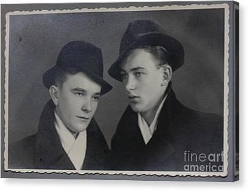 My Father With Good Friend .1945. Canvas Print by  Andrzej Goszcz
