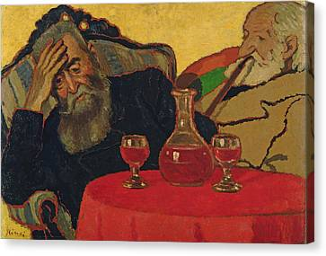 My Father With Uncle Piacsek Drinking Red Wine, 1907 Canvas Print