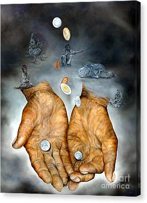 My Father's Hands - Survival Canvas Print by Anna-Maria Dickinson