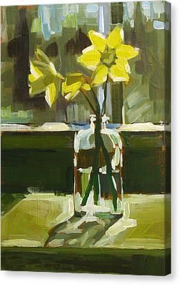 My First Daffodils Canvas Print by Annie Salness