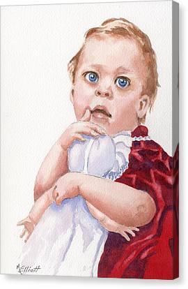 My First Doll Canvas Print by Marsha Elliott