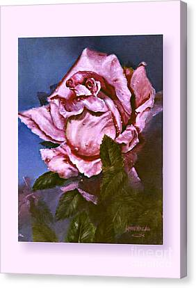 Canvas Print featuring the painting My First Rose by Lynne Wright