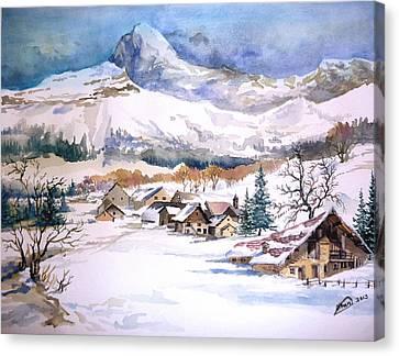 My First Snow Scene Canvas Print by Alban Dizdari