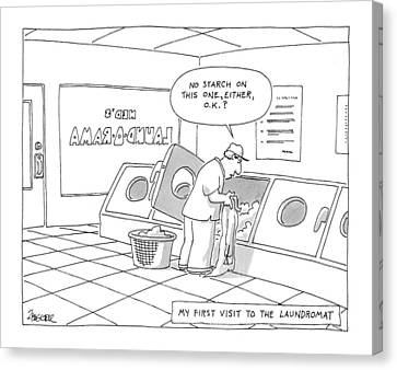 My First Visit To The Laundromat 'no Starch Canvas Print by Jack Ziegler