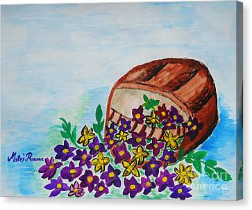 Canvas Print featuring the painting My Flower Basket by Ramona Matei