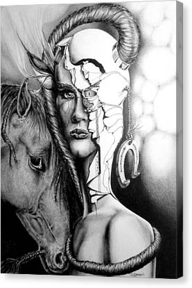 Canvas Print featuring the drawing My Friend by Geni Gorani