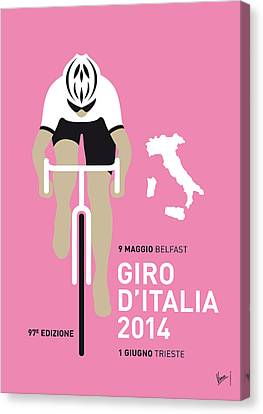 Bicycle Canvas Print - My Giro D Italia Minimal Poster 2014 by Chungkong Art