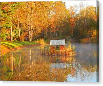 Reflections Of Sun In Water Canvas Print - My Golden Pond by Karen Cook
