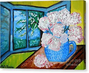 My Grandma S Flowers   Canvas Print by Ramona Matei