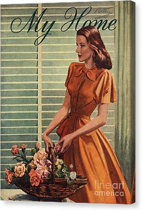 My Home 1940s Uk Womens Flowers Canvas Print by The Advertising Archives