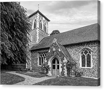 My House Is Yours - Ancient Stone Church Black And White Canvas Print by Gill Billington
