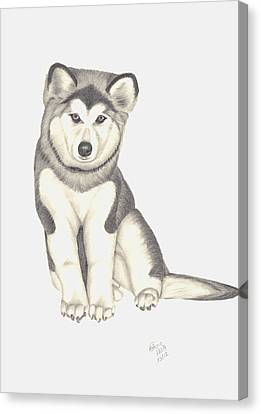 My Husky Puppy-misty Canvas Print by Patricia Hiltz