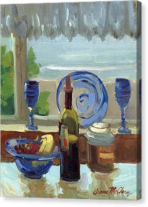 Wine Glasses Canvas Print - My Kitchen On Vashon Island by Diane McClary