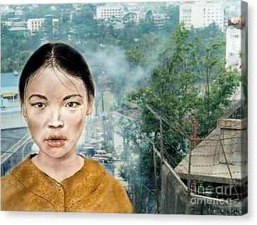 Workers Canvas Print - My Kuiama A Young Vietnamese Girl Version II by Jim Fitzpatrick