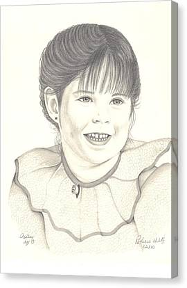 Canvas Print featuring the drawing My Little Girl by Patricia Hiltz