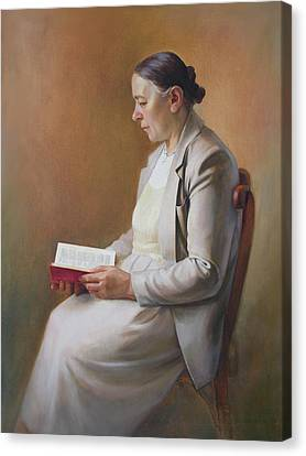 Canvas Print featuring the painting My Mother Reading The Bible by Svitozar Nenyuk