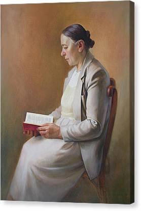 My Mother Reading The Bible Canvas Print by Svitozar Nenyuk