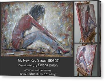 Canvas Print featuring the painting My New Red Shoes 190809 by Selena Boron