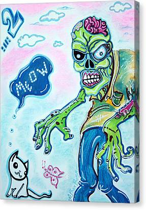 My Pet Zombie #2 / Here Kitty Kitty Canvas Print by Laura Barbosa