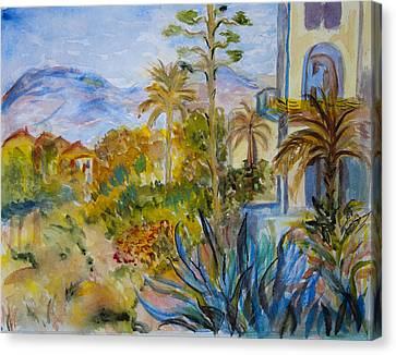 My Rendition Of Villas At Bordighera Canvas Print by Donna Walsh