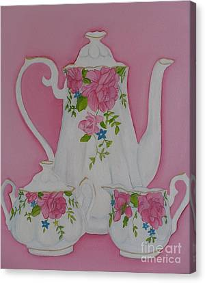 My Royal Doulton  English Rose Teaware Canvas Print by Margaret Newcomb