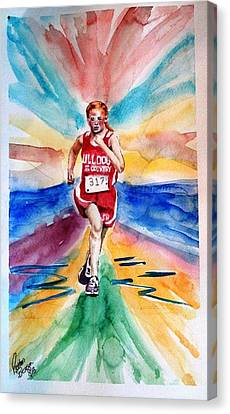 Canvas Print featuring the painting My Sarah Running Cross Country by Richard Benson