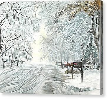 My Slippery Street  Canvas Print by Carol Wisniewski